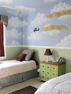 Fantastic Interior For Kids Bedroom Decorating Ideas: Incredible Ideas In Kids Bedroom Decorating Design Using Sky Nuance Wallpaper Also Brown Shade Table Lamp In Green Wood Bedside Table Also WHite Comforter In Platform Bed And Black Furry Rug For Kids Bedroom Interior Decoration ~ gacahome.com Bedroom Inspiration