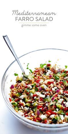 Mediterranean Farro Salad -- this simple dish is quick and easy to whip up, and full of the best flavors! | http://gimmesomeoven.com