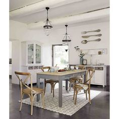 Mesa de comedor extensible de 6 a 8 personas gris An. 160/210 cm | Maisons du Monde