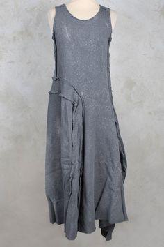 Canvas Cotton Dress with Raw Edging in Grey Metallic - Rundholz Dip