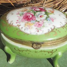 Trinket Box - antique porcelain footed jewelry box with brass, a lovely green…