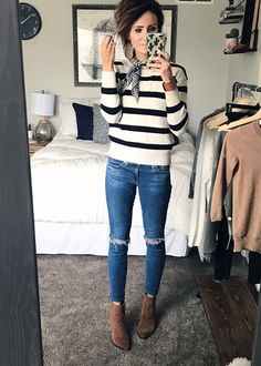 """Great post full of """"how to style"""" ideas including: ankle boots, bandana, beanie, camo jacket, cardigan, distressd denim, everyday style, hiking boots, otk boots, sneakers, stripes, sweatshirt, velvet booties, vest, leather earrings. #women'sfashionstyleideas"""
