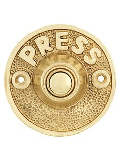 "Vintage ""Press"" Door Bell Button In Solid, Cast Brass, Home Accessories, Brass Doorbell. Vintage ""Press"" Door Bell Button In Solid, Cast Brass. Antique Hardware, Home Hardware, Doorbell Button, Front Door Handles, Front Door Hardware, D House, House Cast, House Front, Farm House"