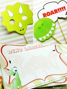 A Dinosaur party with a color pallet in light green and brown with red details...fun items for the kids