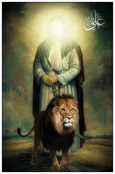 Imam Ali Lion Allah (aleyhi salam) Muslim Images, Islamic Images, Islamic Pictures, Religious Photos, Religious Art, Prophets In Islam, Cute Couple Selfies, Imam Hussain Wallpapers, History Of Islam