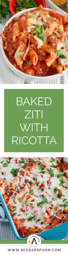 Baked Ziti with Ricotta is a great meal for a busy week or as a gift to a new mom. Pasta is mixed with a flavorful tomato sauce, ground beef , cottage Baked Ziti With Ricotta, Easy Baked Ziti, Italian Dishes, Italian Recipes, Italian Pasta, Freezer Friendly Meals, Freezer Meals, Dinner Party Recipes, Holiday Recipes