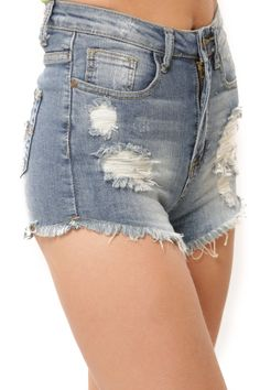 High Waist Destroyed Fray Shorts - Medium Blue