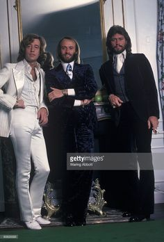Robin Gibb, Maurice Gibb, and Barry Gibb of the disco group the Bee Gees at the Waldorf Astoria in New York City in 1978.