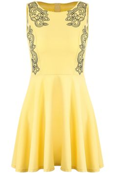 Yellow Round Neck Sleeveless Embroidered Pleated Dress 16.67