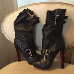 Louboutin Python Belted Buckle Boots ❤️ These hit at mid calf - only worn twice - beautiful and soft! More photos available ☺️ upper back has a slight ruffle when buckled - very cute from all angles ☺️ Christian Louboutin Shoes