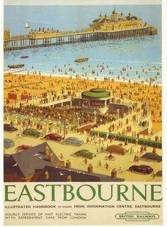 Eastbourne East Sussex British Railways Train Rail Travel Poster Print in Art, Prints, Contemporary Posters Uk, Train Posters, Railway Posters, Poster Prints, 3d Poster, Art Prints, British Travel, British Seaside, British Isles