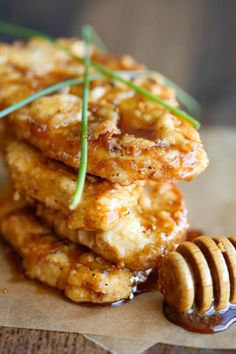 Honey Garlic Chicken - The most amazing crisp-tender chicken with a honey garlic sauce that is out of this world!