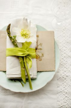 Simple place setting for a party by Mary Norden.  Shot with photographer Laura Edwards