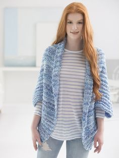 This Simple Crochet Shrug is a customer favorite! Now save 20% on all of our Made in America yarns, including Homespun! Free crochet pattern calls for 4 balls of yarn (pictured in delft) and a size N-13 (9mm) crochet hook.