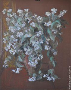 Купить Картина пастелью Жасмин в крынке - белый, жасмин, натюрморт с цветами, картина в подарок