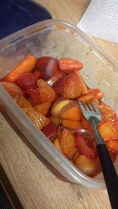 We rolled sliced apples oranges and strawberries in li hing mui powder and then let it sit in the refrigerator overnight, then soaked it in Jose cuervo tequila the next night. It was a huge hit at a party! Give everyone a fork.