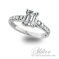 Unique and fashionable. Stylish Emerald cut diamond surrounded by round diamond accents to finish this look. Lab Created Diamond Rings, Lab Created Diamonds, Lab Diamonds, Emerald Cut Diamonds, Round Diamonds, Dream Engagement Rings, Diamond Simulant, Pure Products, Jewels