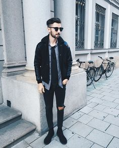 Get this look: http://lb.nu/look/7951524  More looks by Christoph Schaller: http://lb.nu/christophschaller  Items in this look:  A Kind Of Guise Bomber, Acne Studios Jeans, Prada Shirt   #artistic #casual #edgy