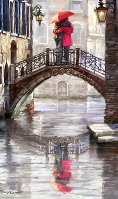 'Canal Bridge' Print on Canvas East Urban Home - Art Painting Romantic Paintings, Beautiful Paintings, Bridge Painting, Art Watercolor, Rain Art, Umbrella Art, Canvas Art, Canvas Prints, Big Canvas