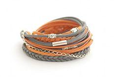 on vacation / Wrap Bracelet, Orange Gray Wrap Bracelet, Leather wrap, Boho bracelet, suede, double wrap, boho chic on Etsy, $24.00
