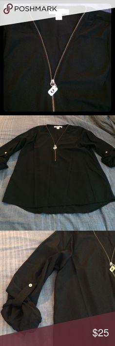 EUC Michael Kors top EUC black Michael Kors zip up tunic top. MICHAEL Michael Kors Tops Tunics