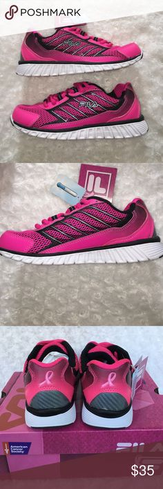 Women's Pink Ribbon Breast Cancer Running Shoes Support the cause wearing these FILA women's running shoes. COOLMAX removable memory foam insole wicks away moisture. Mesh lining, memory foam added footbed. New in box. Fila Shoes Sneakers