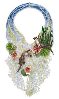 Bib-Style Necklace with Seed Beads, Polymer Clay and Cultured Freshwater Pearls - Fire Mountain Gems and Beads