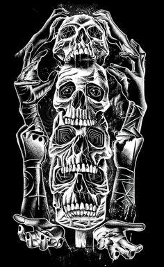 Skull Totem Art Print by Jorge Garza | Society6