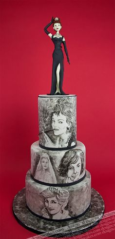 Audrey Hepburn cake by Design Cakes . . . oh wait, there's Princess Di on the bottom tier. And Jackie O. in the middle. I guess this is a Fabulous Women Cake?