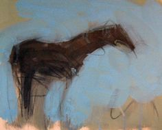 """Original Painting """"Solitary Horse 1992"""" by Theodore (Ted) Waddell"""