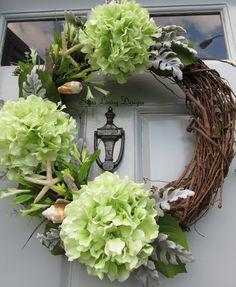 Hydrangea Wreath, Seashell Wreath, Beach Wreath, Ocean Wreath, Scallop, Conch, Starfish, Clamshell, Seaside Décor, Seashell Décor Home Decor by SilvaLiningDesigns on Etsy