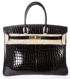 a3ece36dcf1f Hermes Birkin Noir (black) Porosus Crocodile Handbag Ghw New Black Satchel.