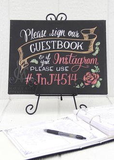 "Guestbook sign for wedding, 11"" x 14"" canvas, custom hand-drawn chalkboard art inspired"
