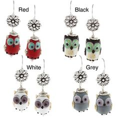 @Overstock - These pretty earrings from Charming Life feature a handcrafted lampwork bead in the shape of an owl in your choice of red, black, white or grey color options. These earrings are crafted of pewter with sterling silver hook findings.http://www.overstock.com/Jewelry-Watches/Charming-Life-Sterling-Silver-Owl-Lampwork-Glass-Bead-Earrings/6842898/product.html?CID=214117 $21.99