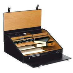 43.5 x18x35 cm ( 17.12 x7.09 x 13.78 in)  The 1949travel writing desk set is an elegant and functional luxury stationery set containing 14 nibs, a dip pen, a black ink well, a leather notebook,