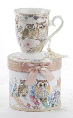 Gift Boxed Porcelain Mug with Tassel - Owls