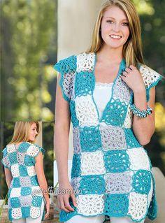 Patrón #753: Vestido Ajedrez a Crochet