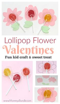 Adorable lollipop flowers make fun Valentines for the class. An easy, last-minute Valentine activity for kids.