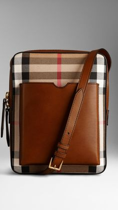 Small House Check Leather Crossbody Satchel   Burberry $1,150.00 Item 38948611 TAN         A structured crossbody satchel crafted from House check cotton twill and leather.         Designed with an external moulded pocket for an iPad Mini, the bag features a double zip closure and an adjustable shoulder strap.         Grosgrain lining and hand-painted edges complete the clean design.         20.5 x 27 x 5cm         8.1 x 10.6 x 2in         100% cotton with leather trim         Made in Italy
