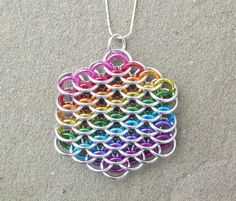 Chain Maille Pendant Rainbow Pendant Dragonscale by XairianMaille, $24.00
