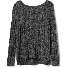 Gap Women Chunky Open Neck Sweater (€42) ❤ liked on Polyvore featuring tops, sweaters, shirts, gap shirts, marled sweater, side slit sweater, chunky knit sweater and chunky sweater
