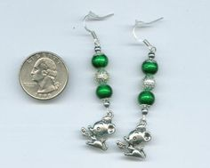 Cute Mouse Beaded Charm Earrings Shiny Green & Silver Hand Made