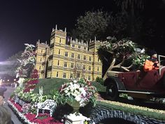 2016 Pasadena Rose Parade Downtown Abbey Float.  Great use of flax seeds on castle.