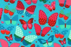 Stoff Schmetterlinge - 298 Jersey Schmetterlinge Türkis Pink Rosa Grün - ein Designerstück von my-kati bei DaWanda