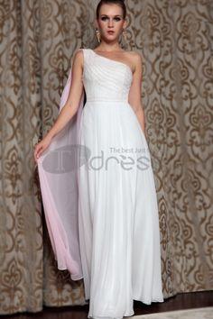 Abiti in Magazzino-fabbricante che fornisce una spalla abiti bianchi evning formale, abiti da damigella d\'onore con il nastro di seta 30858