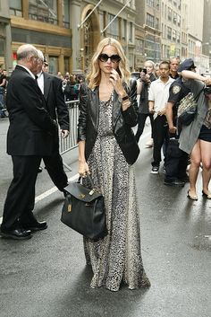 Ageless outfit: leather jacket and maxi dress