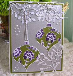 By Bibiana: christmas ornament  using the memory box die Lydia ornament with inlay and stencil with dies techniques.