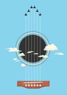 guitar plane graphic art poster