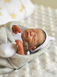 OOAK hand sculpted, newborn baby boy by Sugar Baby Creations Mina