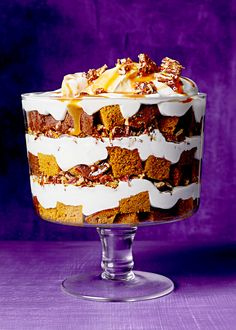 A can of pumpkin puree is the start of a delicious dessert. With bourbon permeating the cream and pecans and caramel in each layer, this trifle is the ultimate fall dessert. The best news? It takes less than an hour to assemble once you create each part. Trifle Dish, Trifle Desserts, Fall Desserts, Just Desserts, Dessert Recipes, Dessert Trifles, Dinner Recipes, Wedding Desserts, Chef Recipes